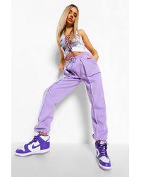 Boohoo Exposed Seam Straight Leg Jogger - Purple
