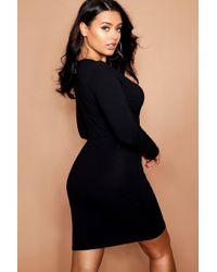Boohoo - Plus Jumbo Long Sleeve Bodycon Dress - Lyst