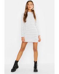 c9132865139 Boohoo - Nautical Stripe Contrast Lettuce Edge Bodycon Dress - Lyst
