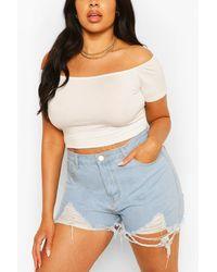Boohoo Plus Basic Off Shoulder Short Sleeve Crop Top - White