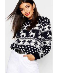 Boohoo Hollie Reindeers And Snowflake Christmas Jumper - Blue