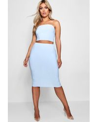 Boohoo - Plus Emilie Slinky Bandeau Top + Skirt Co-ord - Lyst