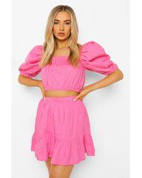 Boohoo Puff Sleeve Top & Drop Hem Mini - Pink