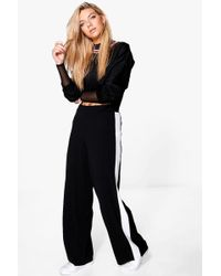 Boohoo - Contrast Panel Wide Leg Relaxed Trousers - Lyst