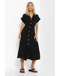 Boohoo Textured Button Front Shirt Dress - Nero