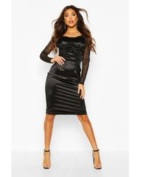Boohoo - Stretch Satin Cupped Rouched Midi Dress - Lyst