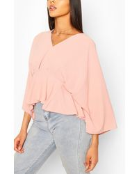 Boohoo Woven Pleated Kimono Sleeve Top - Pink