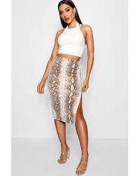Boohoo - Thigh Split Snake Print Crepe Midi Skirt - Lyst