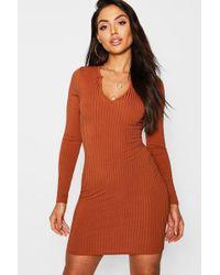 7d368ef21c3a Boohoo - Jumbo Rib Notch Neck Long Sleeve Mini Dress - Lyst