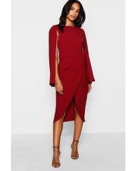 Boohoo - Tall Cape Tailored Belted Midi Dress - Lyst