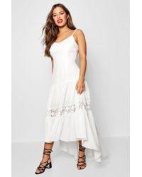 Boohoo - Petite Lace Panel Drop Waist Maxi Dress - Lyst