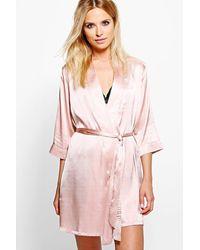 Boohoo Tie Waist Kimono Robe - Pink