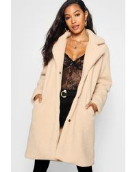 Boohoo Teddy Faux Fur Coat - Natural