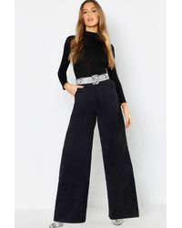Boohoo Womens Cord Wide Leg Pants - Black