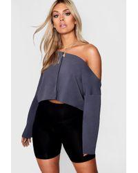 Boohoo - Plus Jess Off Shoulder Tonal Sweater - Lyst