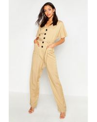 Boohoo Tall Button Front Twill Boiler Suit - Multicolour