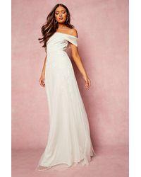 Boohoo Womens Bridesmaid Handverziertes Maxikleid Mit Schleife - Weiß