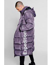Boohoo Expedition Longline Duvet Puffer - Purple