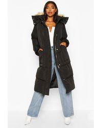 Boohoo Tall Faux Fur Hood Longline Padded Coat - Black
