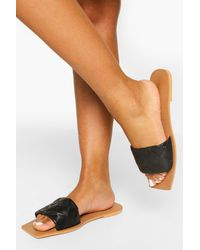 Boohoo Wide Fit Leather Woven Square Toe Slider - Black