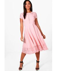Boohoo - Laura Lace Panelled Cap Sleeve Skater Dress - Lyst