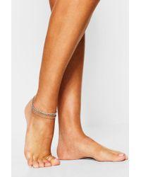Boohoo - Diamante Anklet - Lyst