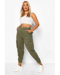 Boohoo Plus Khaki Cargo Jeans - Green