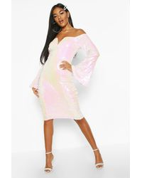 Boohoo - Womens Sequin Flare Sleeve Rouched Side Midi Dress - Lyst