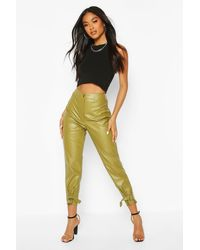 Boohoo Ankle Detail Faux Leather Slim Fit Trousers - Green