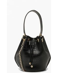 Boohoo Handle Detail Croc Cross Body Bag - Black