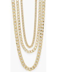 Boohoo 3 Layer Chunky Chain 3 Pack Necklaces - Metálico