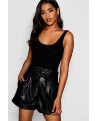 Boohoo - High Waisted Tie Belt Leather Look Shorts - Lyst