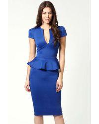 Boohoo Emily Slit Neck Cap Sleeve Peplum Midi Dress - Blue
