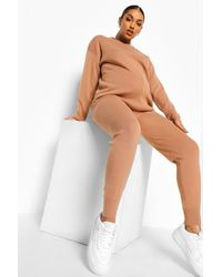 Boohoo Maternity Knitted Lounge Set - Natural