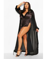 Boohoo Plus Gemma Collins Kimono Robe With Fluffy Trim - Black