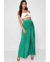 Boohoo Womens Basic Floor Sweeping Maxi Skirt - Green