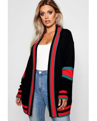 Boohoo Plus Contrast Stripe Oversized Cardigan - Black