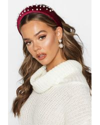 Boohoo Womens Haarband aus Samt mit Perlendetail - Mehrfarbig