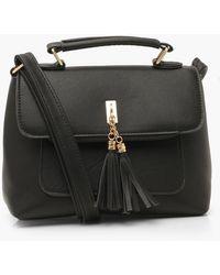 Boohoo - Smooth Pu Tassel Detail Cross Body Bag - Lyst