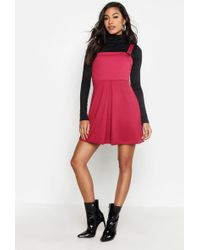 1fe9738ce Lyst - Boohoo Zia Pleat Front Check Pinafore Dress in Pink
