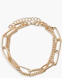 Boohoo Link & Chain Anklet - Metallic