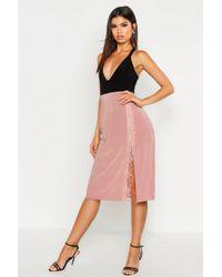 Boohoo Lace Trim Side Split Slip Midi Skirt - Pink