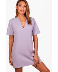Boohoo - Becky Formal Boxy Clean Cut Shift Dress - Lyst