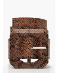 Boohoo - Oversized Square Buckle Faux Snake Belt - Lyst