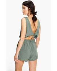Boohoo - Tie Back Relaxed Fit Playsuit - Lyst