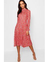 Boohoo Womens High Neck Long Sleeve Dalmatian Print Midi Dress - Red