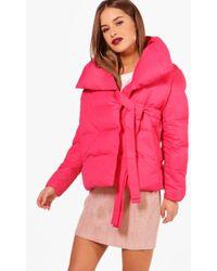 Boohoo - Petite Niamh Large Collar Padded Coat - Lyst