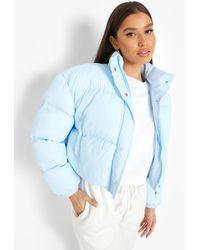 Boohoo Crop Puffer Jacket - Blue