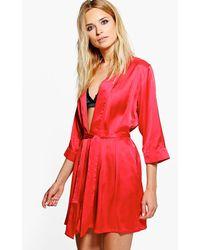 Boohoo Bata Estilo Kimono Con La Cintura Atada - Rojo
