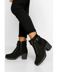 Boohoo Wide Width Buckle Lace Up Chunky Combat Boots - Black
